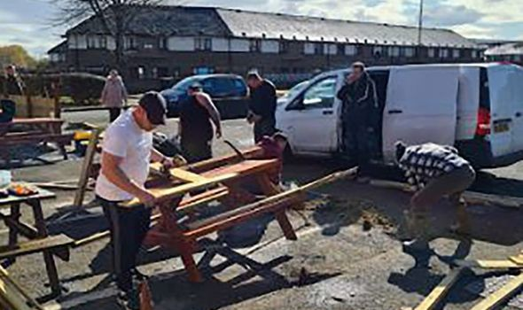 Vandals smashed up a beer garden
