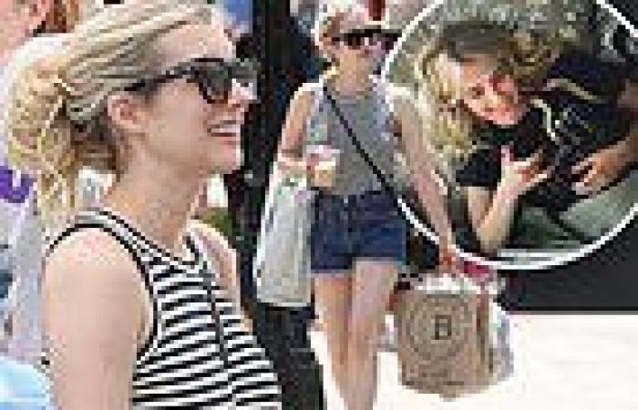 Emma Roberts wears jean shorts to shop at Boston Open Market on break from ...