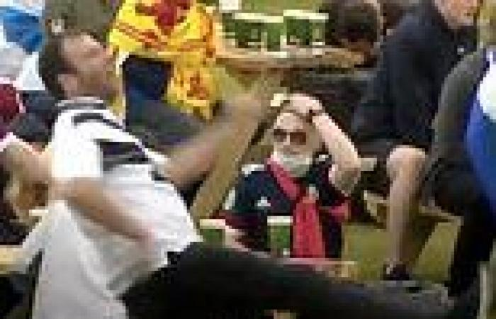 Angry Scotland supporter tries to kick a table and misses live on TV after Euro ...