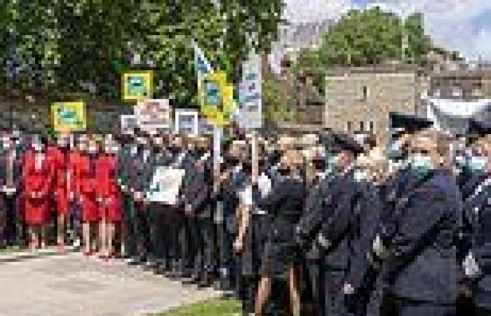 Let us fly again! Furious pilots and cabin crews march on Westminster