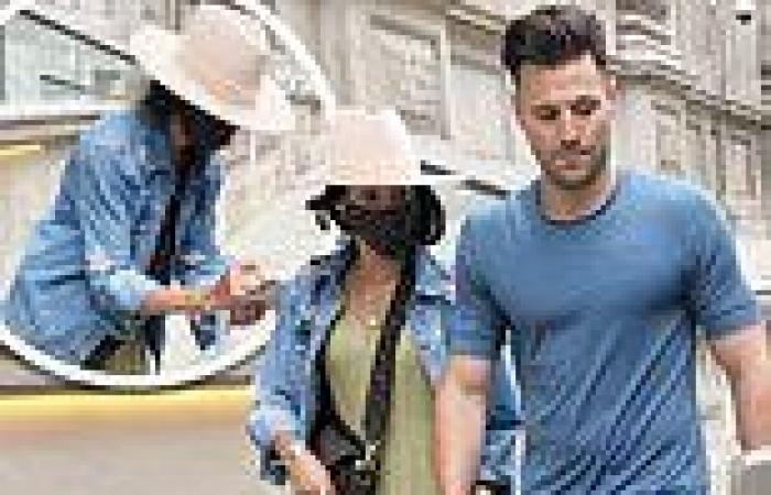 Michelle Keegan cuts stylish figure in a knitted dress as she leaves hotel with ...