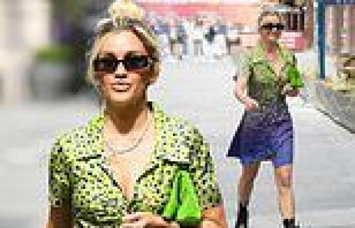 Ashley Roberts looks edgy in a neon House of Holland mini dress