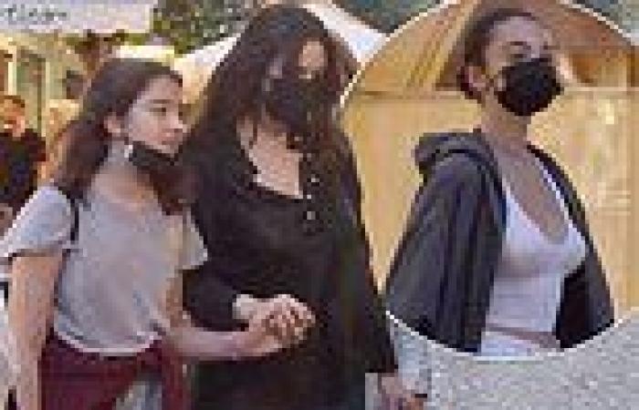 Monica Bellucci steps out with daughters Deva, 16, and Leonie, 11, in Portofino