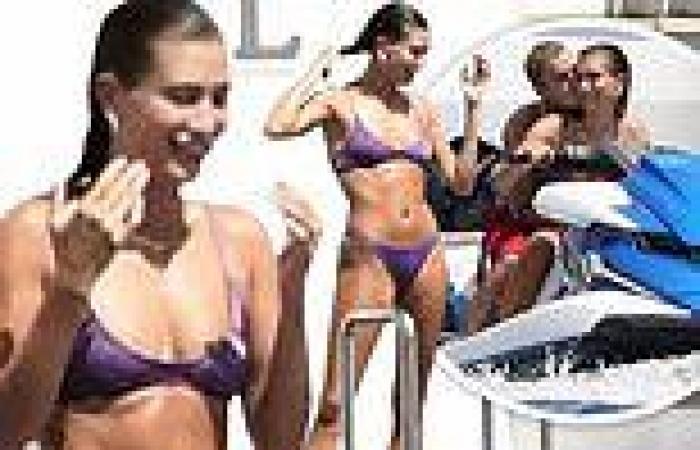 Justin Bieber and wife Hailey enjoy a jet ski ride on the Greek island of Milos