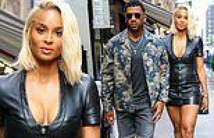 Ciara stuns in cleavage-baring leather mini dress on dinner date with hubby ...
