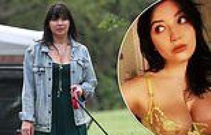 Daisy Lowe looks casually chic in a green dress after sizzling bra snap