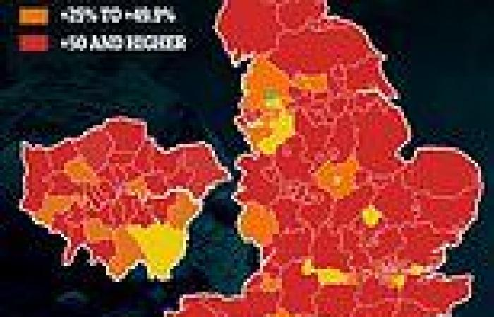 Covid cases surging in every area of England but one and have doubled in fifth ...