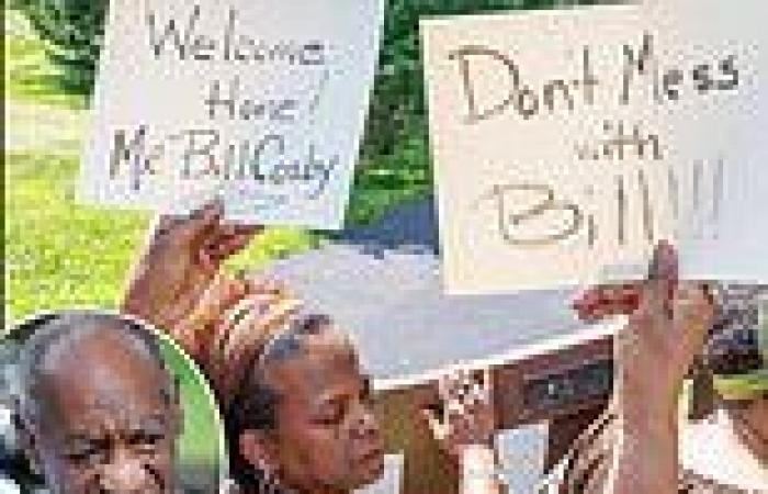 Bill Cosby supporters clash with anti-rape protester outside freed comedian's ...