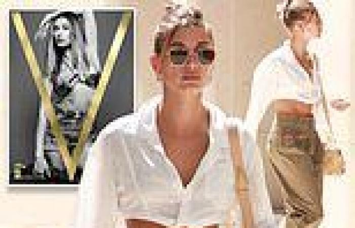 Hailey Bieber flaunts taut tummy in white cropped blouse in Beverly Hills... ...