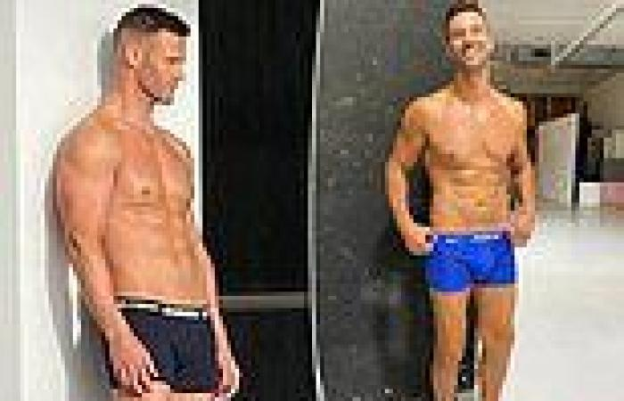Kris Smith shows off his fit physique in tight underwear as he poses for a ...
