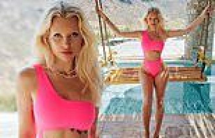 Lottie Moss stuns in revealing cutaway swimsuit as she flashes abs for striking ...