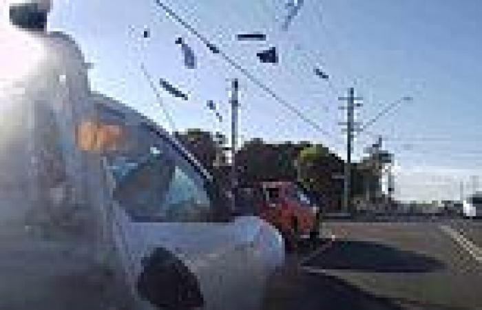 Horror crash sees a ute narrowly miss a woman putting groceries in her car in ...