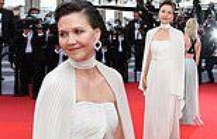 Maggie Gyllenhaal dazzles in a sleek champagne gown at Cannes Film Festival