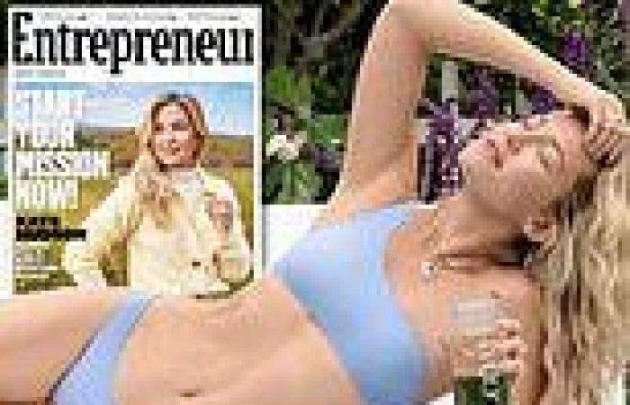 Kate Hudson poses in a bikini to promote her powdered supplements line