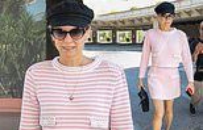 Diana Kruger looks chic in a pink and white co-ord as she arrives in France for ...