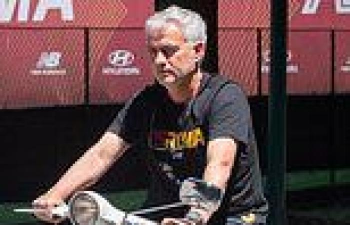 sport news Jose Mourinho attracts attention riding on a Vespa scooter around Roma's ...