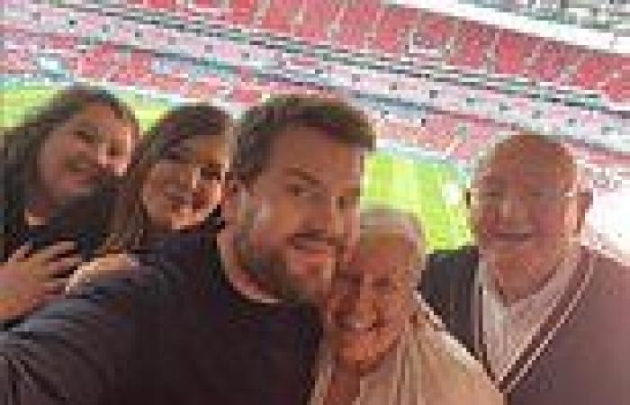 James Corden reunites with family as he leads the stars supporting England at ...