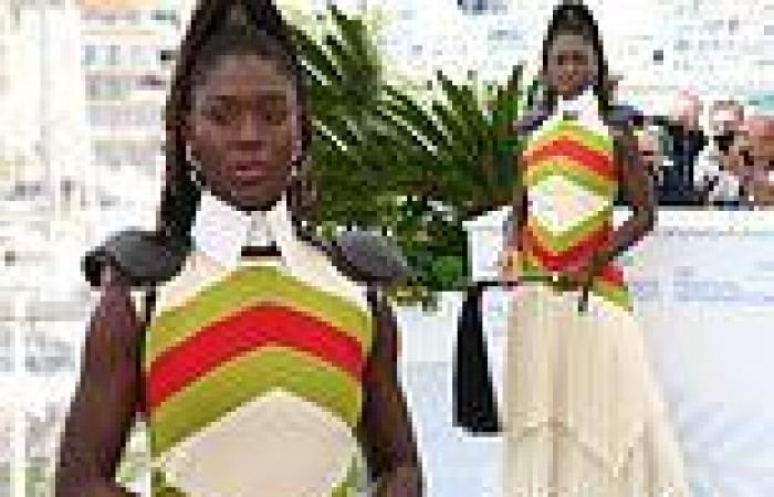 Cannes Film Festival: Jodie Turner-Smith wears chevron dress with a WHIP for ...