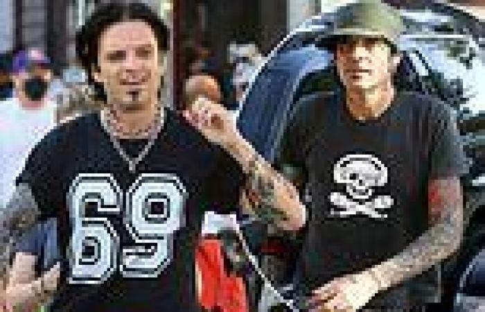 Sebastian Stan is a dead ringer for Tommy Lee with jet black hair and faux ...