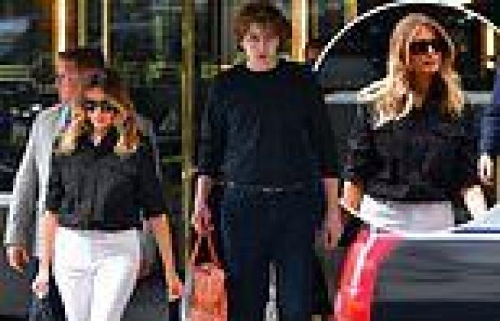 Barron Trump, 16, towers over his mother Melania as the mother-son duo leave ...