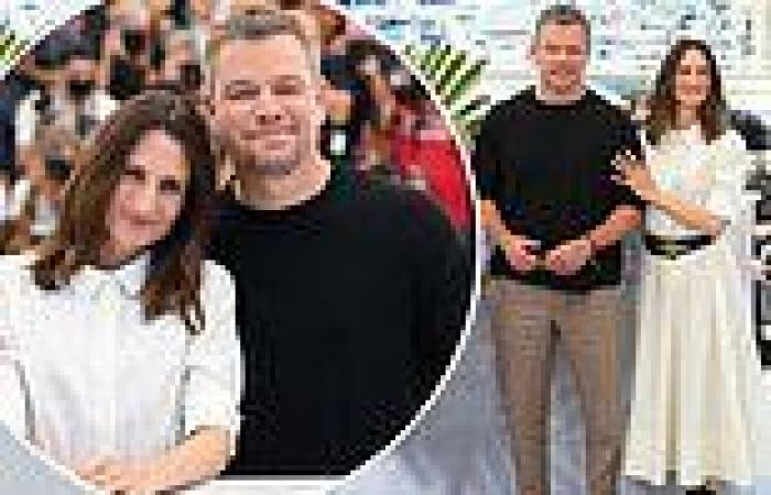 Matt Damon and Camille Cottin look jovial display at Stillwater photocall at ...