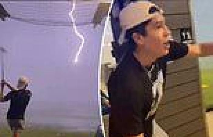 Terrifying moment teenage boy's 88mph golf ball is struck by lightning