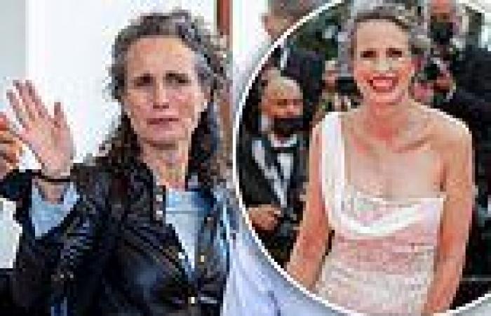 Andie MacDowell, 63, pulls back her silver locks in Cannes