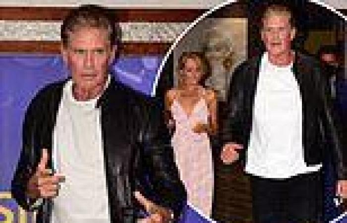 David Hasselhoff, 68, looks suave in a leather jacket as he enjoys night out at ...
