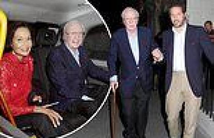 Michael Caine enjoys a night out with his wife Shakira and some friends