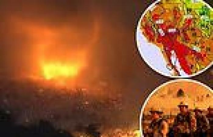Moment fire TORNADO hits California wildfire site as Golden State braces for ...