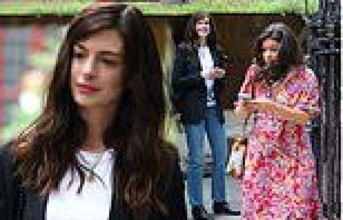 Anne Hathaway and America Ferrera are seen on the set of their Apple TV series ...