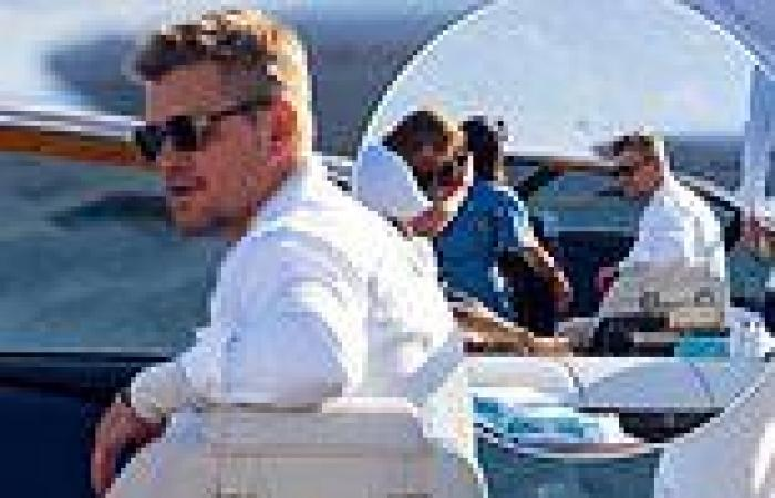 Matt Damon looks relaxed as he heads out on a boat on day four of Cannes Film ...