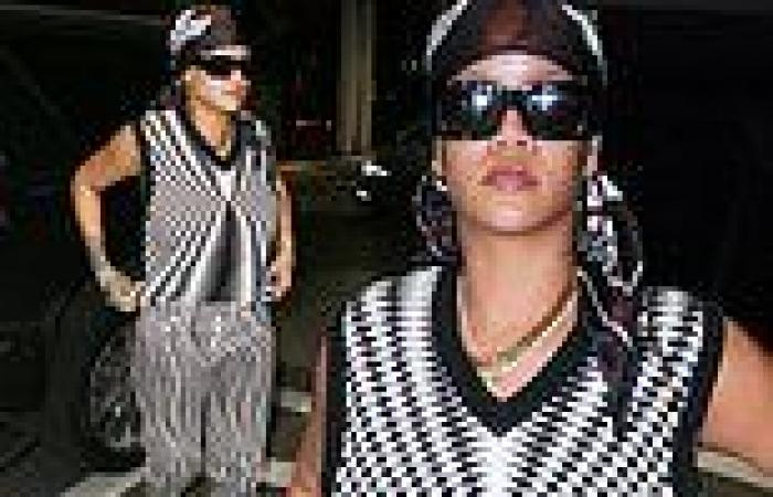 Rihanna rocks a chic black and white outfit andsilk head scarf as she enjoys ...