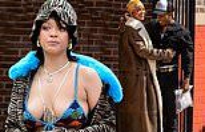 Rihanna and A$AP Rocky look loved up on the set of a new music video in The ...