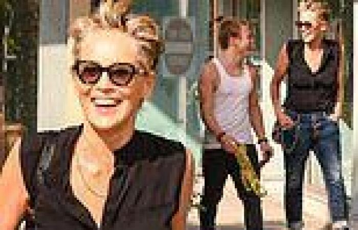 Sharon Stonesteps out to shop for sunglasses with her rarely-seen son Roan, ...