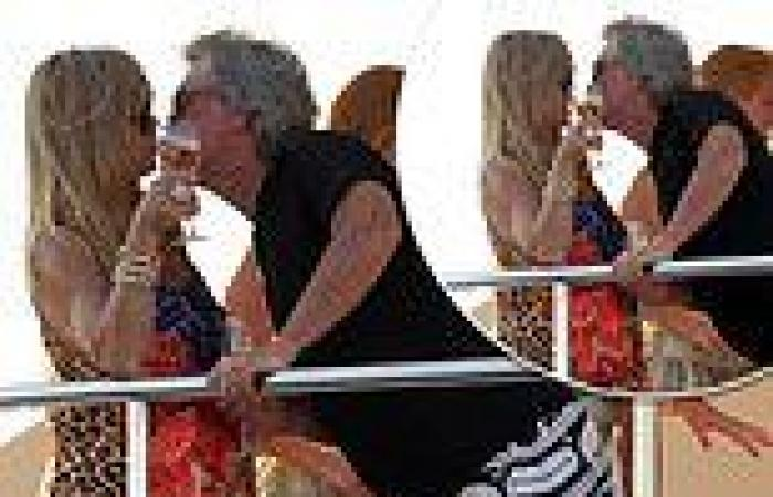 Goldie Hawn, 75, and partner Kurt Russell, 70, share a kiss aboard luxury boat ...
