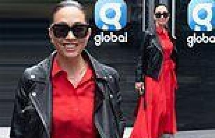 Myleene Klass cuts a eye-catching figure in a fit and flare red dress for ...