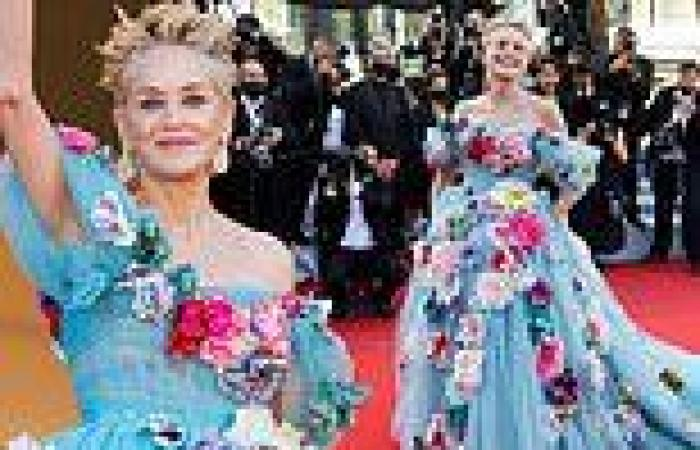 Sharon Stone exudes glamour in an ice blue gown adorned with colourful flowers