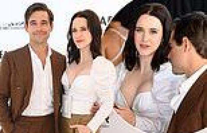 Rachel Brosnahan looks chic as she attends the amFAR lunch with her husband ...