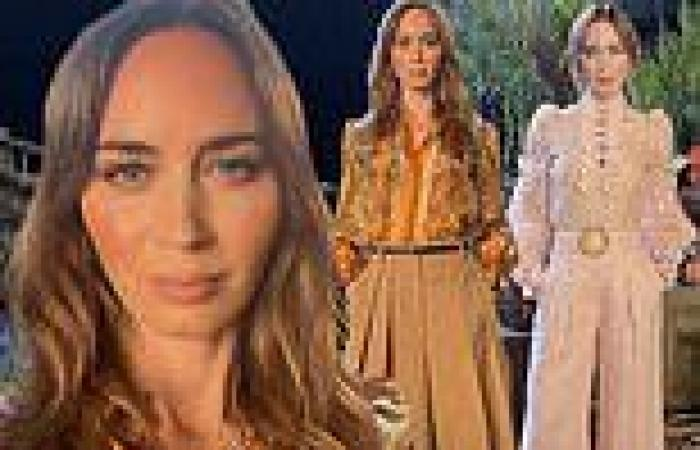 Emily Blunt rocks dueling ensembles to film promotional footage for Disney's ...