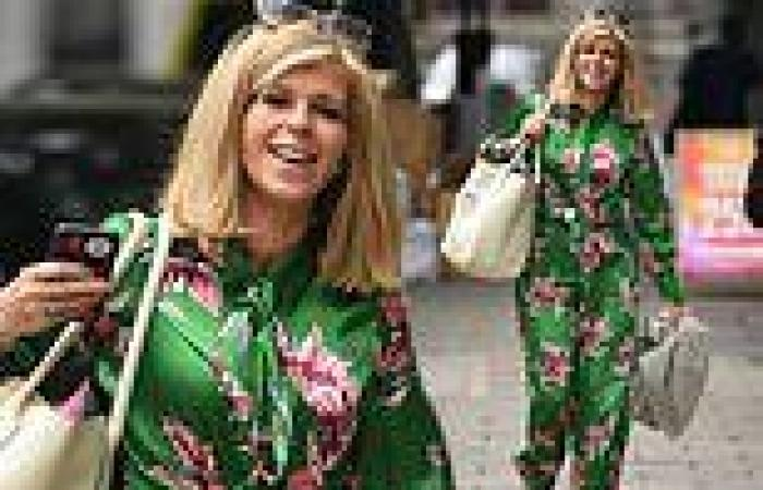 Kate Garraway dons bright green floral jumpsuit as she arrives on set of Good ...