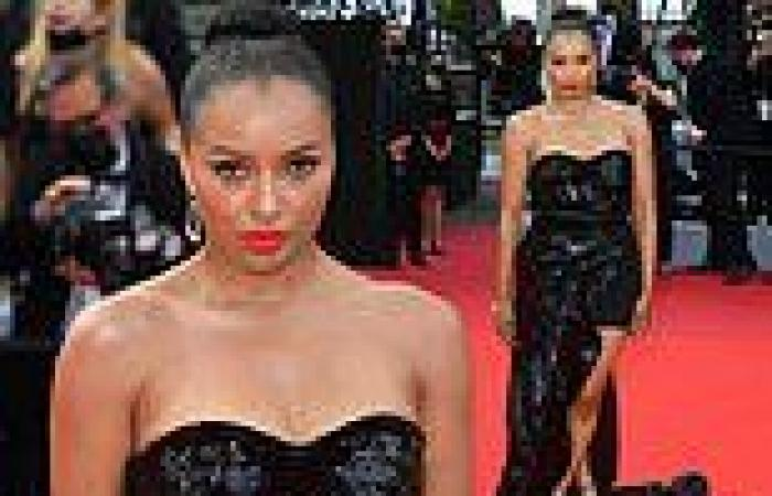 Kat Graham puts on leggy display in a custom sequin gown at Cannes Film Festival