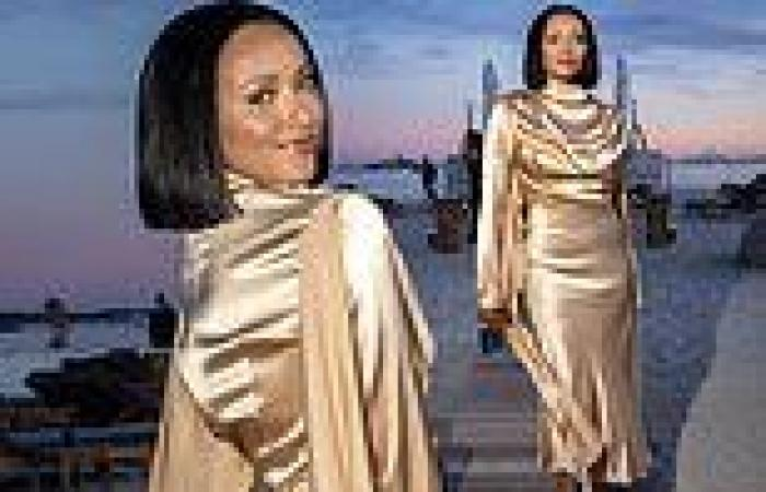 Kat Graham looks chic in a gold silk dress as she attends the Le Figaro Madame ...