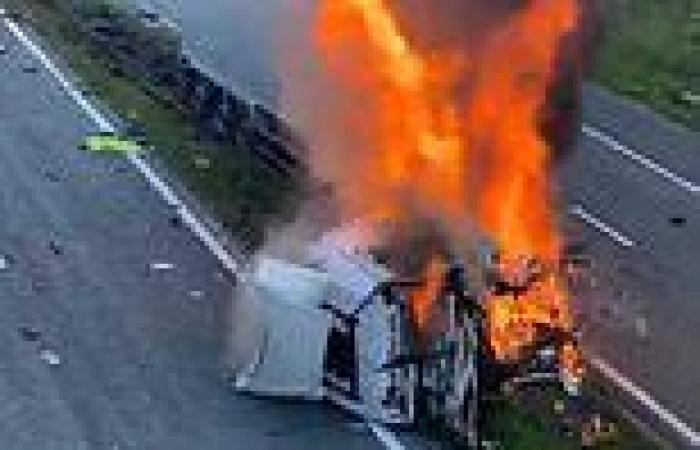 Three people are killed after lorry crashed into 'several vehicles' and ...