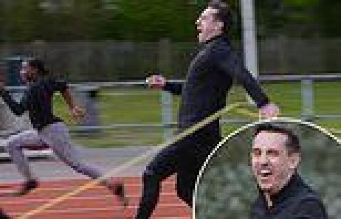sport news Gary Neville pulls his hamstring as he races Team GB gold-medal sprint hopeful ...