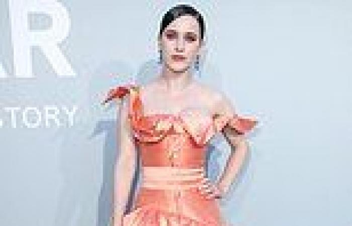 Rachel Brosnahan exudes elegance in a peach satin gown atamfAR Gala