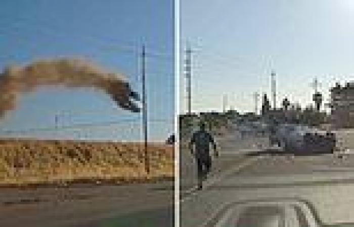 Moment smoking car flies off overpass and crash lands on highway directly in ...