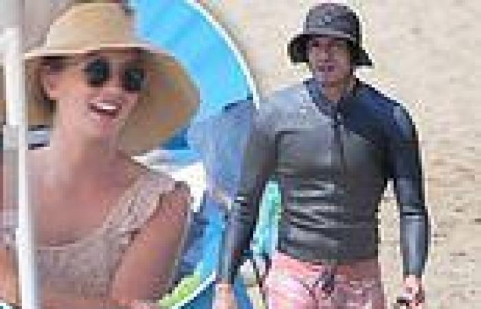 Leighton Meester relaxes with her children at the beach while Adam Brody goes ...