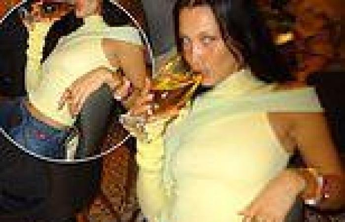 Bella Hadid showcases her style in a radiating lemon one-shoulder jumper  denim ...