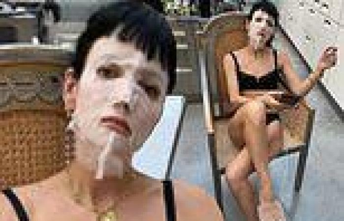Lily Allen strips down to just a skimpy bra, underwear, and facemask on the ...